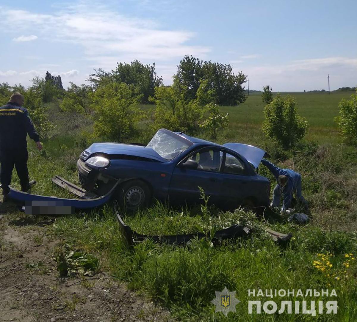Авария на трассе под Запорожьем / фото: ГУНП Днепропетровской области